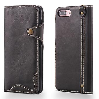 Genuine leather wallet case card slot for iphone6/6s black no4022