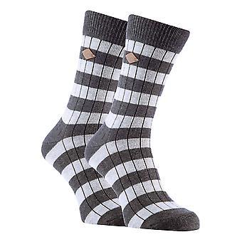 2 Pk mens cotton striped ribbed boot socks