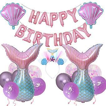 La mulți ani Decoratiuni Mermaid Party Supplies Set Cu Headband Pink Blue