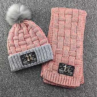 nová ružová hrubá kocka beanie klobúk šál set patch sm5141