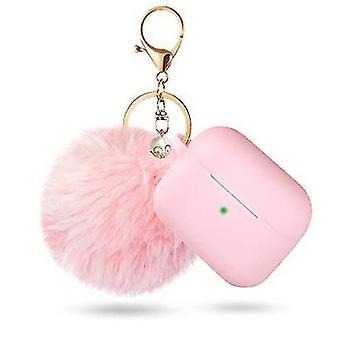 Προστατευτική περίπτωση pods αέρα με την κλειδοθήκη και pompom (ροζ)