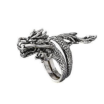 Retro Dragon Ring Alloy Open Adjustable Finger Ring For Men