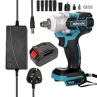 18V Cordless Impact Wrench Screw Driver Brushless Motor High Torque Electric Wrench with 13pcs 1/2