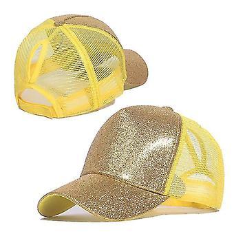 Baseball Ponytail Caps, Paljetit Kiiltävä Sotkuinen Pulla Snapback Hattu (Keltainen)