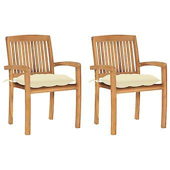 vidaXL sillas de jardín 2 piezas con almohada blanca crema de madera maciza de teca