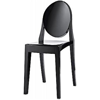 Fusion Living Black Ghost Style Plastic Victoria Dining Chair - Set Of 6