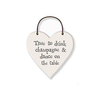 Drink Champagne & Dance Mini Wooden Hanging Heart - Cracker Filler Gift