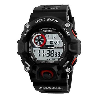 Digital Watch Fashion Multi-funcional Sports Chronograph 50M Waterproof Men Wrist Watch RED BLACK