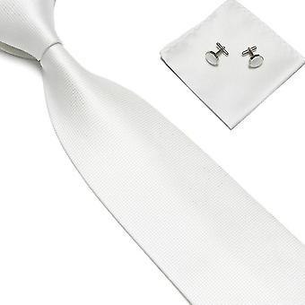 Acessórios para fantasias | Gravata + lenço + abotoaduras-Branco