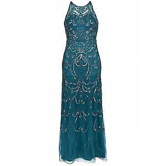 Contas sem mangas, vestido de vestido embelezado de lantejoulas