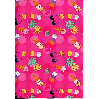 Children's Assorted Gift Wrap Sheets 50-70cm - Ice-cream & Lollies