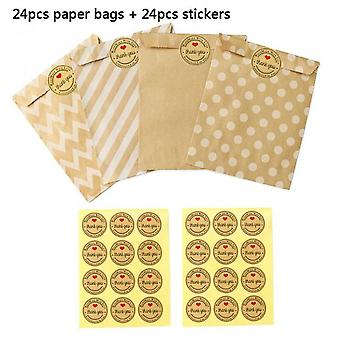 24 Stickers+24 Pcs Kraft Paper Bags Treat Candy One Time Bag Environmental Protection Polka Dot