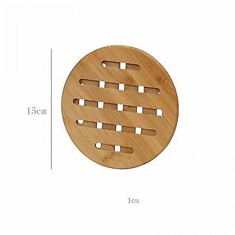 2 Pieces Of Thick Bamboo Insulation Pads For Household Use For Dining Table (small Size 14.8cm)