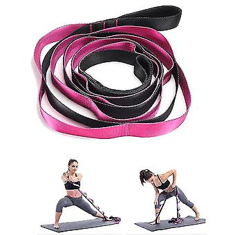 Yoga mat bags straps yoga stretch strap 12 loops  for physical therapy  pilates  dance and gymnastics with carry bag