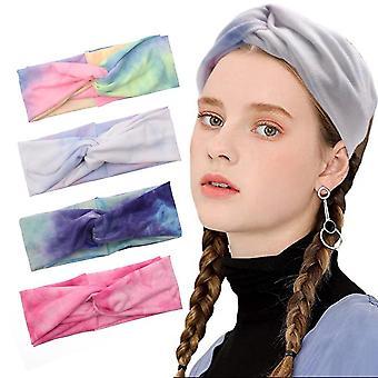 4pcs Tie Dye Cross Yoga Fitness Hair Band Cotton Cloth Sweatband
