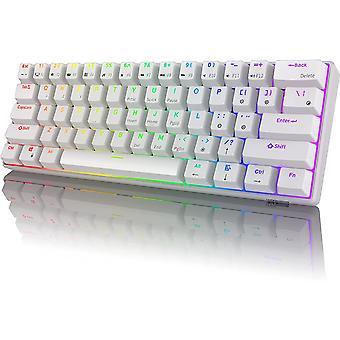 Rk Rk61 Rgb Bezdrátová/kabelová 60% kompaktní mechanická klávesnice, 61-klávesová Bluetooth malá přenosná herní kancelářská klávesnice, vhodná pro Windows a Mac Bílá