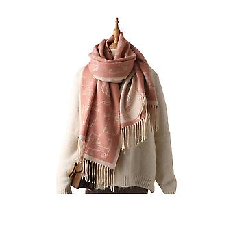 Thick Fringed Scarf Female Cat Print Shawl Winter Windproof Scarf