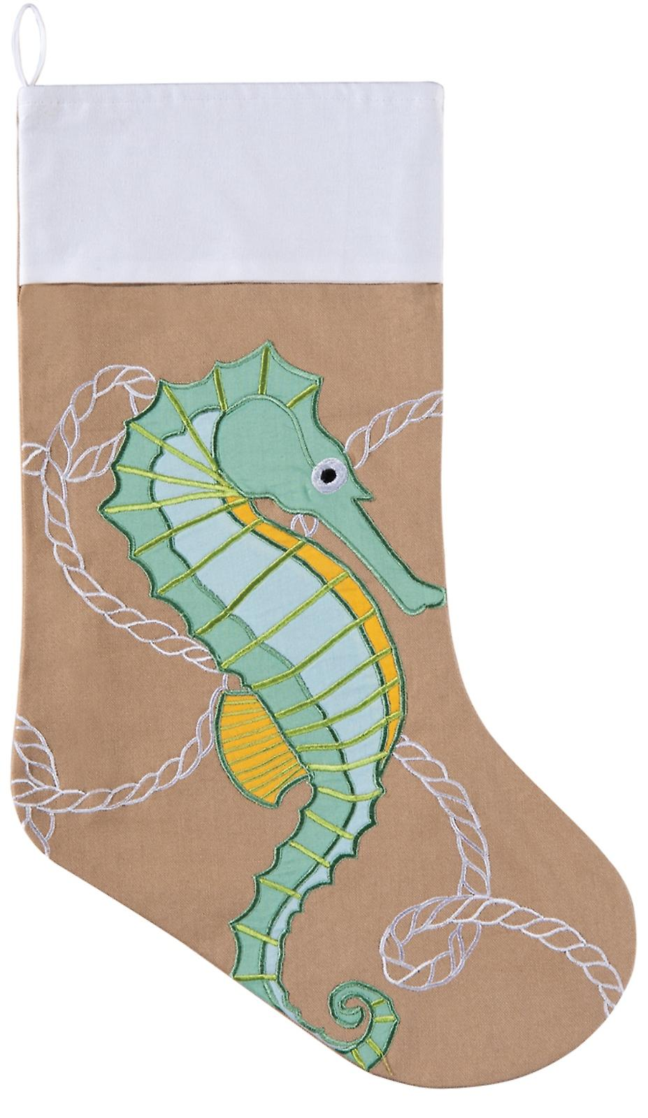 Coastal Appliqued Seahorse Linen Look 20 Inch Christmas Holiday Stocking