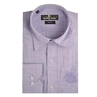 Claudio Lugli Lilac Linen Mens Shirt