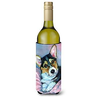 Corgi szczeniaka z różowym kocem wino butelka napoju izolator Hugger