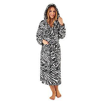 Slenderella GL8740 vrouwen van zwarte Zebra afdrukken Robe lange mouw badjas