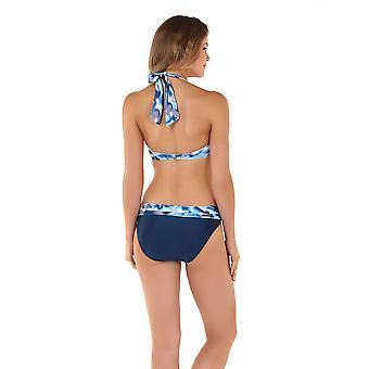 Seaspray 05-1333 Women's Casablanca Blue and Beige Storm Print Bikini Top