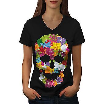 Flower Peace Death Women BlackV-Neck T-shirt | Wellcoda