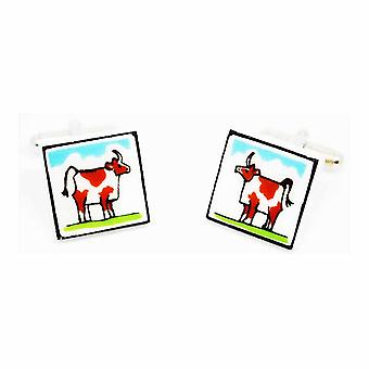 Brown Cow Cufflinks by Sonia Spencer, in Presentation Gift Box. Hand painted