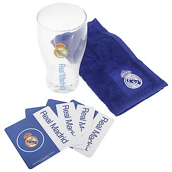 Real Madrid CF Official Wordmark Mini Football Bar Set (Pint Glass, Towel & Beer Mats)