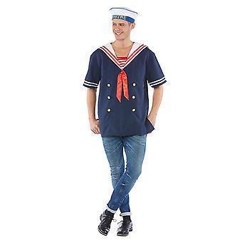 Ragazzi costume blu Sailor uomo pelliccia Mariner Carnevale