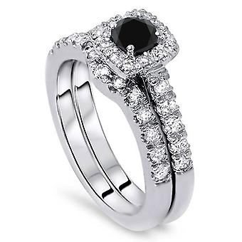 1 1 / 4ct amortiguador Halo negro anillo de compromiso conjunto 14K oro blanco