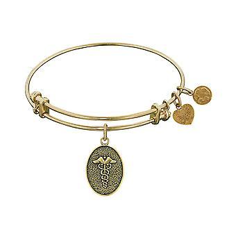 "Stipple Finish Brass Caduceus Angelica Bangle Bracelet, 7.25"""