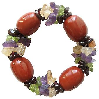 Good Luck Bracelet With Multi Gemstones And Fancy Red Jasper