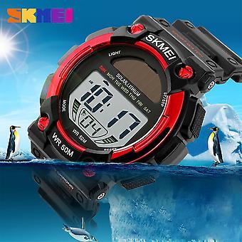 SKMEI Mens Boys Girls Red Solar Power Digital Sports Watch 50m Alarm Stopwatch