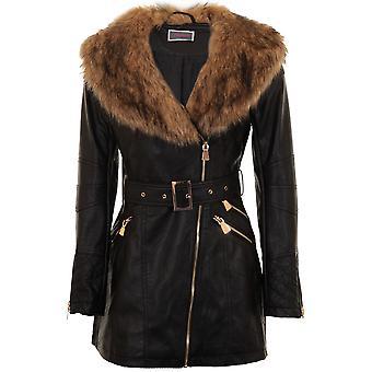 Ladies Faux Fur Collar PU Leather Gold Side Zip Belted Waist Long Biker Jacket