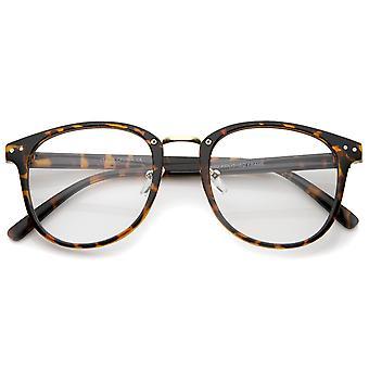 Classic Metal Nose Bridge Clear Lens Square Horn Rimmed Glasses 52mm