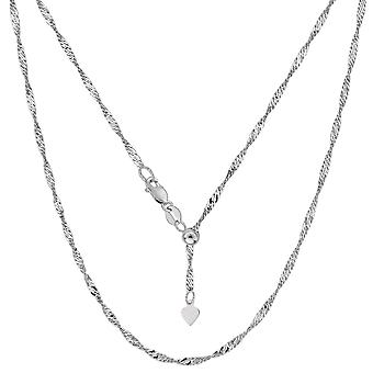 """Sterling Silver Rhodium Plated 22"""" Sliding Adjustable Singapore Chain Necklace, 1.5mm"""