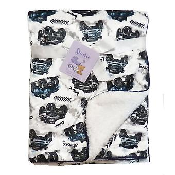Whte Cars Mink Sherpa Fleece Lined Baby Blanket