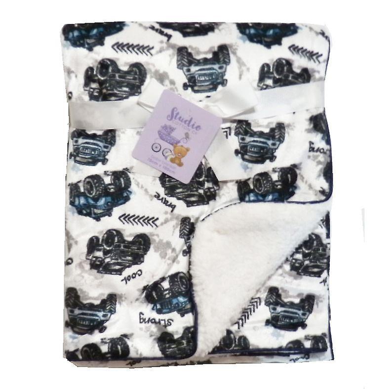Whte Cars Mink Sherpa Fleece Lined Baby Blanket