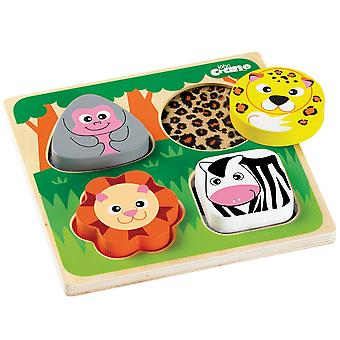 Tidlo Wooden Educational Touch and Feel Puzzle - Safari Sensory Play Learn