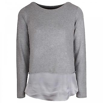 Oui Boat Neck Fine Knit Grey Layered Jumper