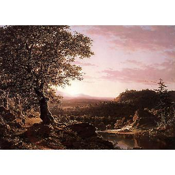 July Sunset, Berkshire County, Frederic e. Church, 40x60cm with tray