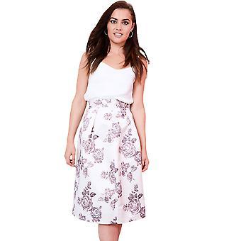 Lovemystyle Pleated Floral Satin Full Midi Skirt With Waistband