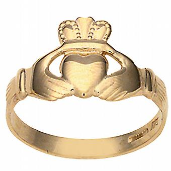 9ct Gold 6x12mm ladies Claddagh Ring Size P