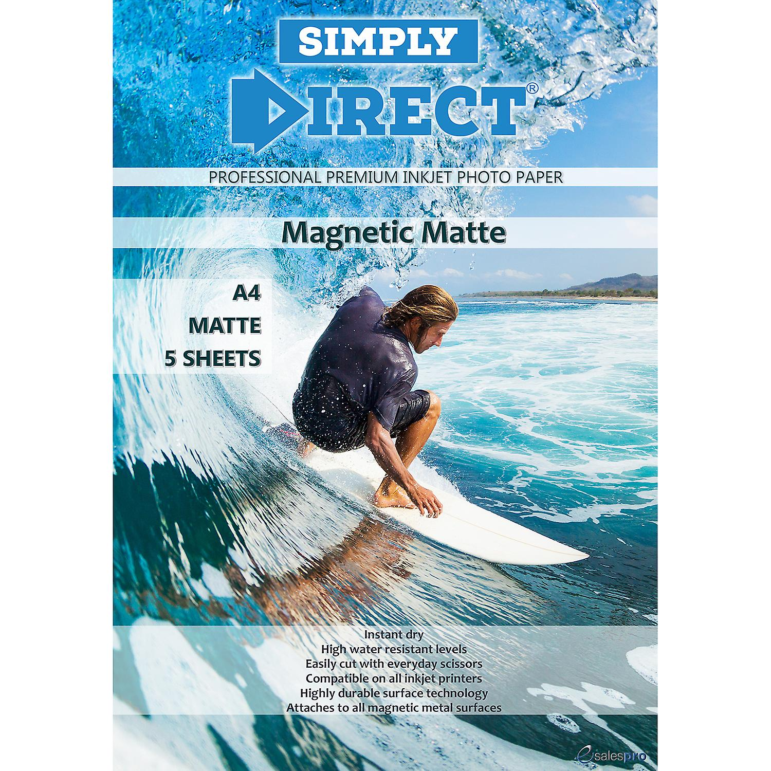 5 x Simply Direct A4 Magnetic Matte Inkjet Photo Printing Paper - 690gsm - Professional Premium Photographic Paper