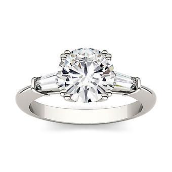 14K White Gold Moissanite by Charles & Colvard 8mm Round Engagement Ring, 2.27cttw DEW