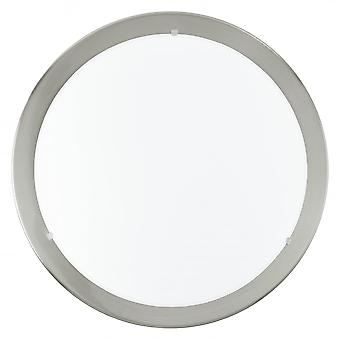 Eglo Planet 11W LED Nickel Flush Light With Satin Glass