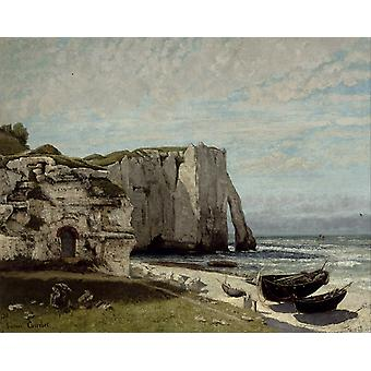 The Cliff at Etretat myrskyn, Gustave Courbet, 50x40cm