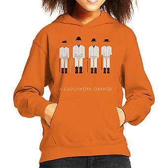A Clockwork Orange Droog Outfit Movie Silhouette Kid's Hooded Sweatshirt