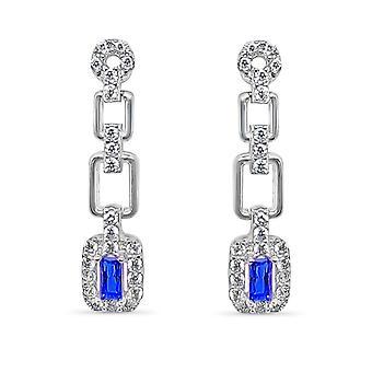 Ah! Jewellery Princess Cut Drop Sapphire Crystals from Swarovski Earrings